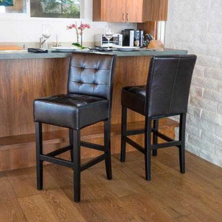 Bennette Espresso Leather Bar Stool Set Of 2  Walmart Gorgeous Walmart Kitchen Stools 2018