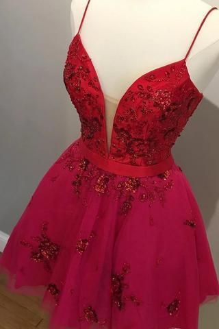 Sexy Spaghetti Straps Red Short Party Dress, Appliques Prom Dress