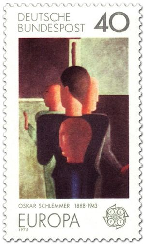 """Konzentrische Gruppe"" auf Briefmarke von Oskar Schlemmer 1975: http://d-b-z.de/web/2013/09/03/mensch-und-raum-oskar-schlemmer/"
