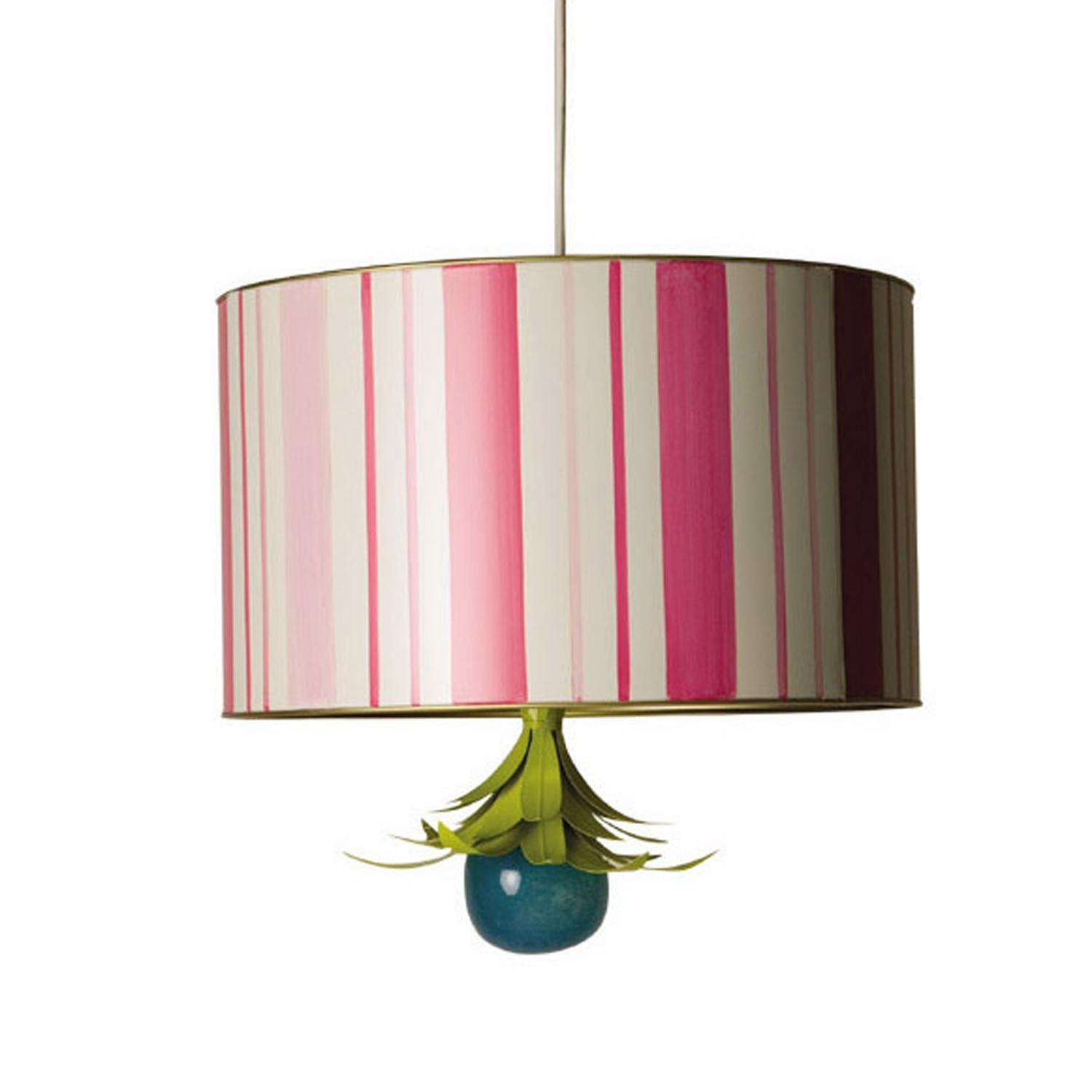 Preppy Vertical Pink And White Stripes With A Fancy Glass Finial