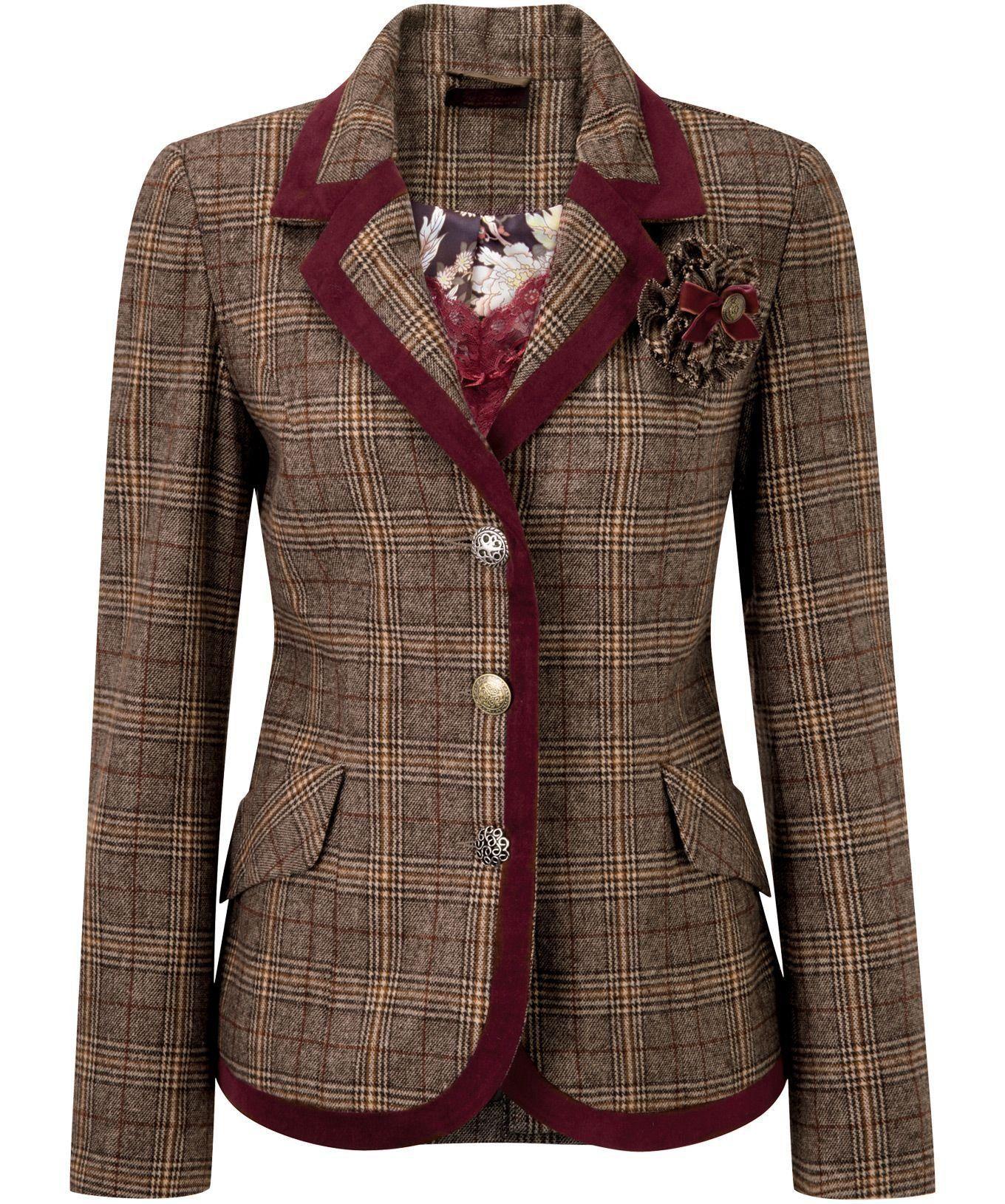 296161b440a Joe Browns Women s Sovereignty Long Sleeved Checked Blazer Jacket Check  (8)  Amazon.co.uk  Clothing
