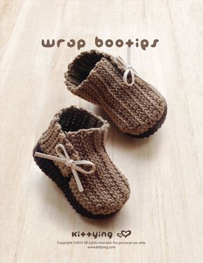 Crochet Pattern Wrap Baby Booties Newborn Boots Preemie Shoes