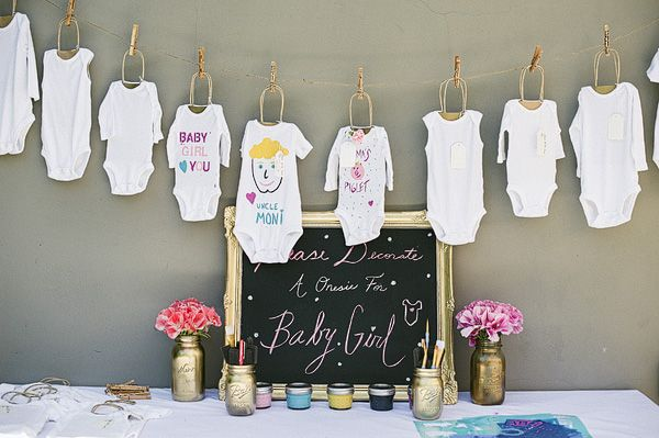 Onesie Decorating Station At Baby Shower For Crafty And Creative People Pink Gold Baby Shower Gold Baby Showers Funny Baby Shower Games