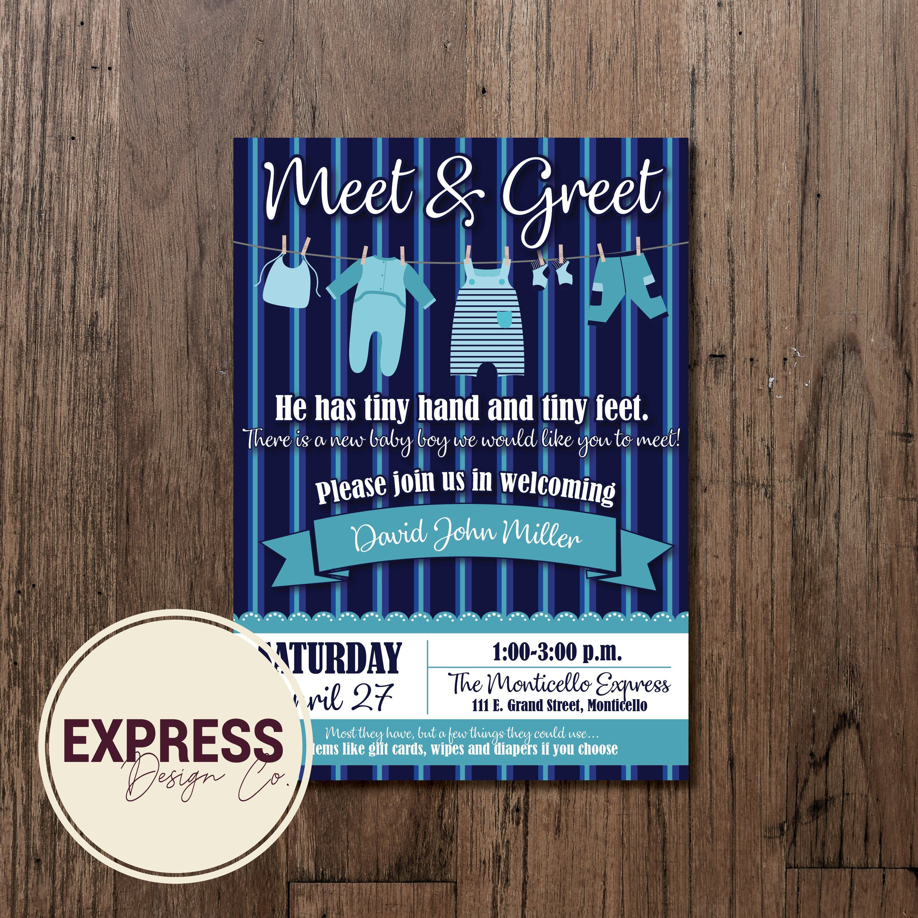 Customized Meet Amp Greet Baby Boy Baby Shower Invitation