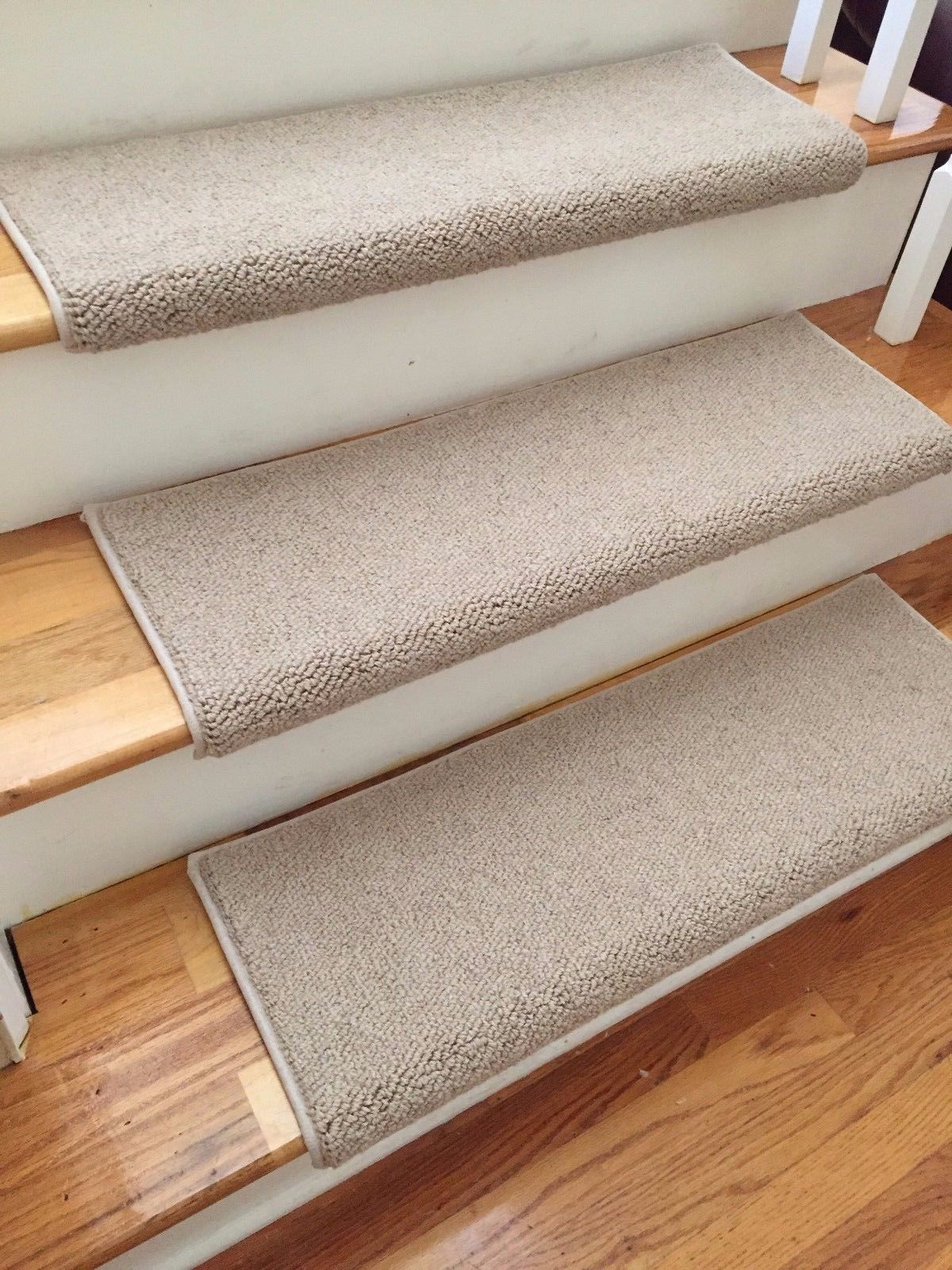 Tweed Linen Tan Ecco Tex Blend New Zealand Wool! TRUE Bullnose™ Carpet  Stair Tread Runner Replacement For Style, Comfort U0026 Safety(Sold Each)
