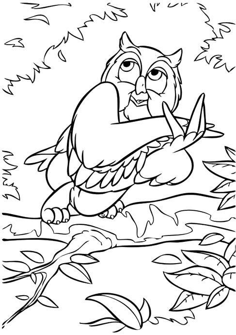 Owl In The Movie Bambi Coloring Pages Bambi Car Coloring Pages Horse Coloring Pages Coloring Pages Animal Coloring Pages