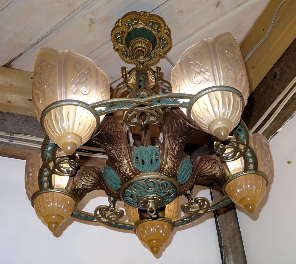 Antique montreal art deco slip shade chandelier chandeliers and antique montreal art deco slip shade chandelier arubaitofo Choice Image