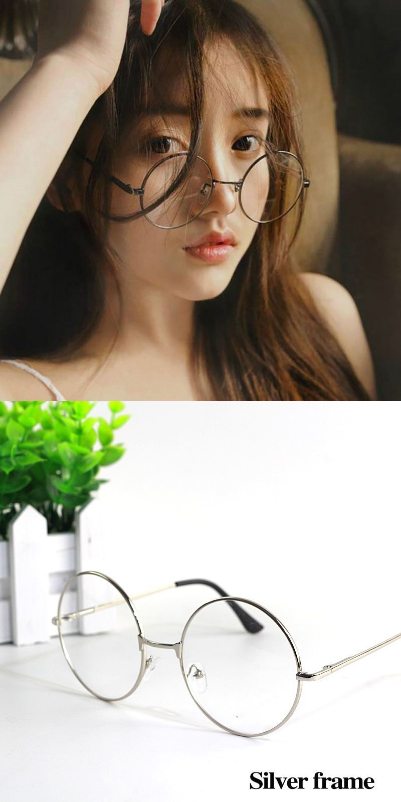 903ed1646d Korean retro round glasses frame art fine flat mirror super light glasses  for men and women  frames  eyewear  accessories  dot  women  alloy   spectacle ...