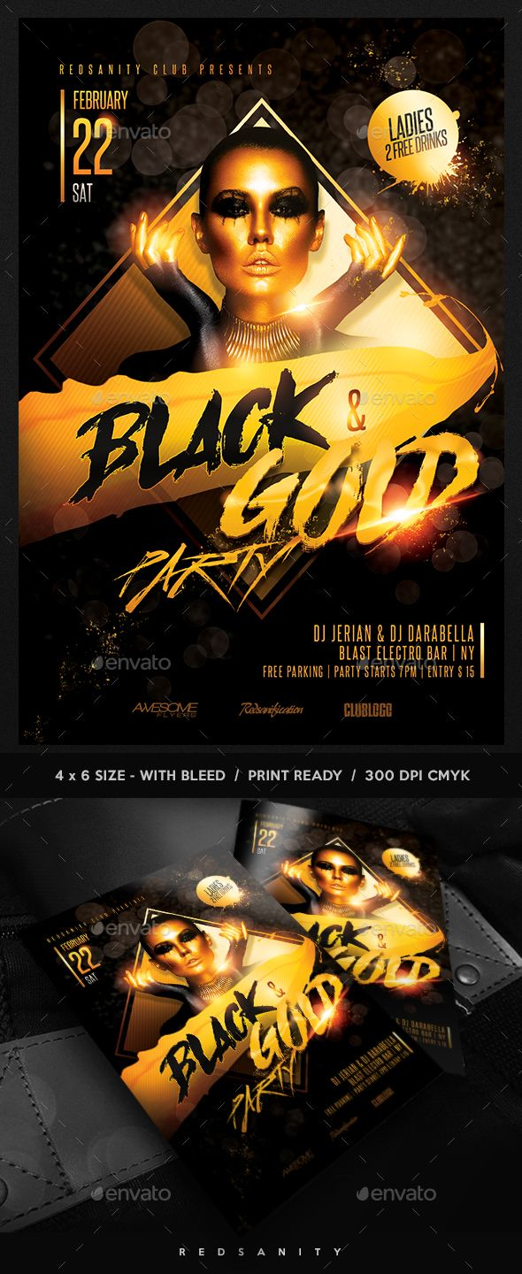 Black Gold Party Flyer Event Party Flyer Templates Pinterest