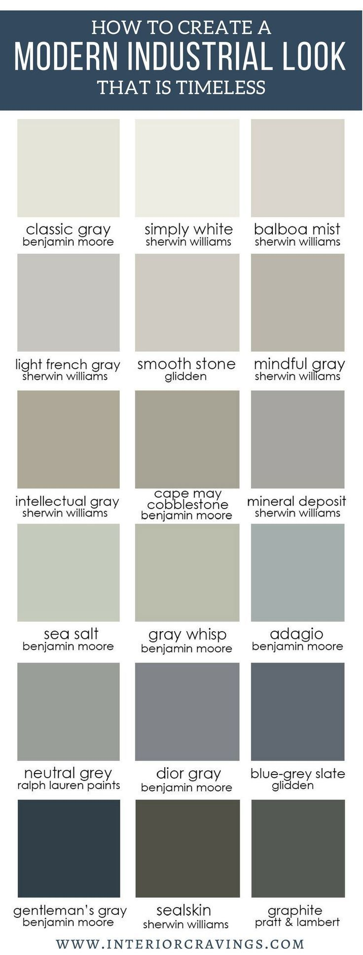 CRAVINGS - How to create a modern industrial look that is timeless - neutral paint color palette options for a modern industrial look in your decor