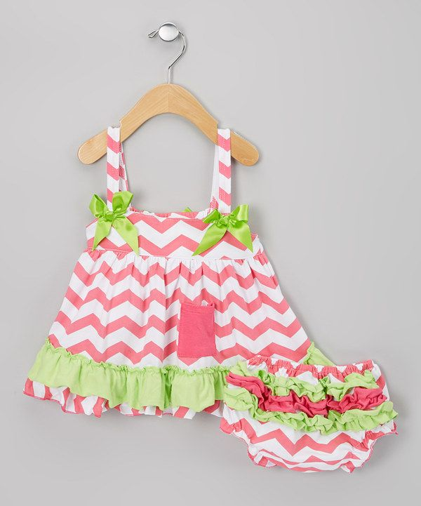 Look what I found on #zulily! Hot Pink & Lime Zigzag Swing Top & Diaper Cover - Infant by Sweet Cheeks #zulilyfinds