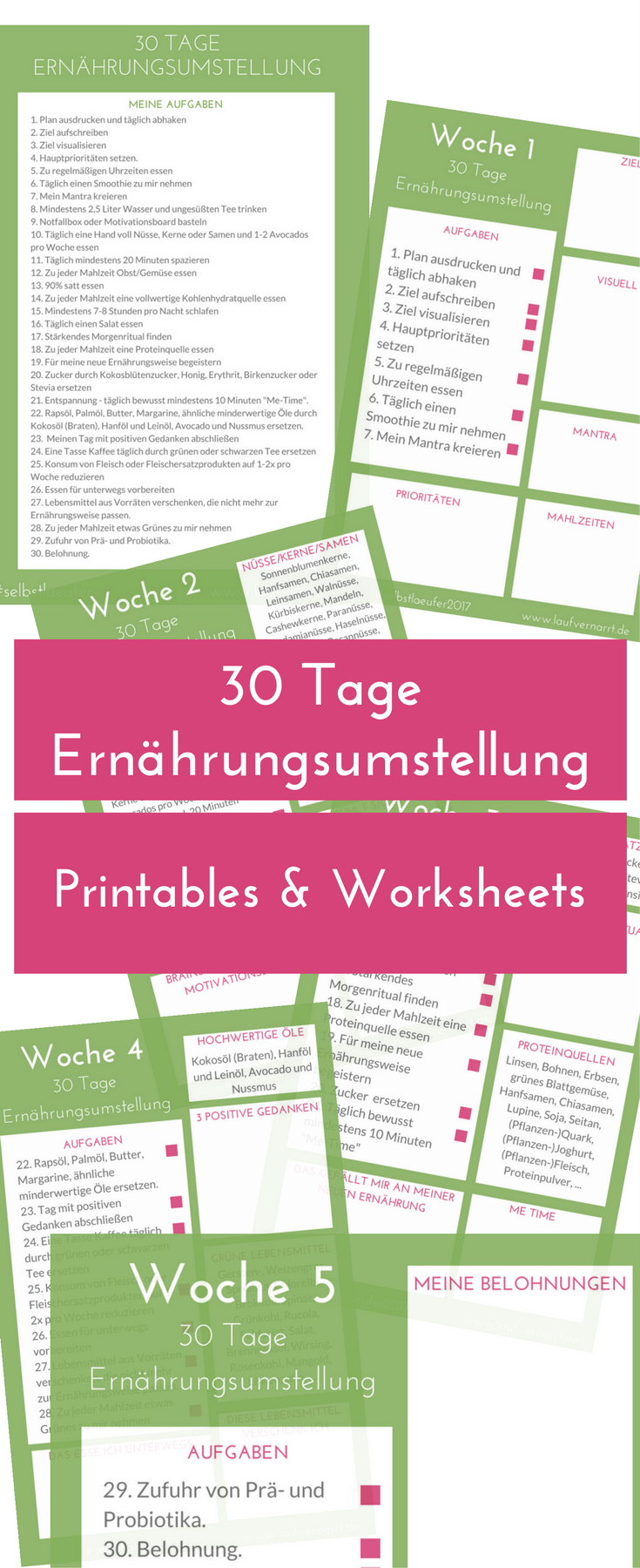 30 Tage Ernährungsumstellung - Printables & Worksheet. Stell dich Tag 1 der Challenge und…