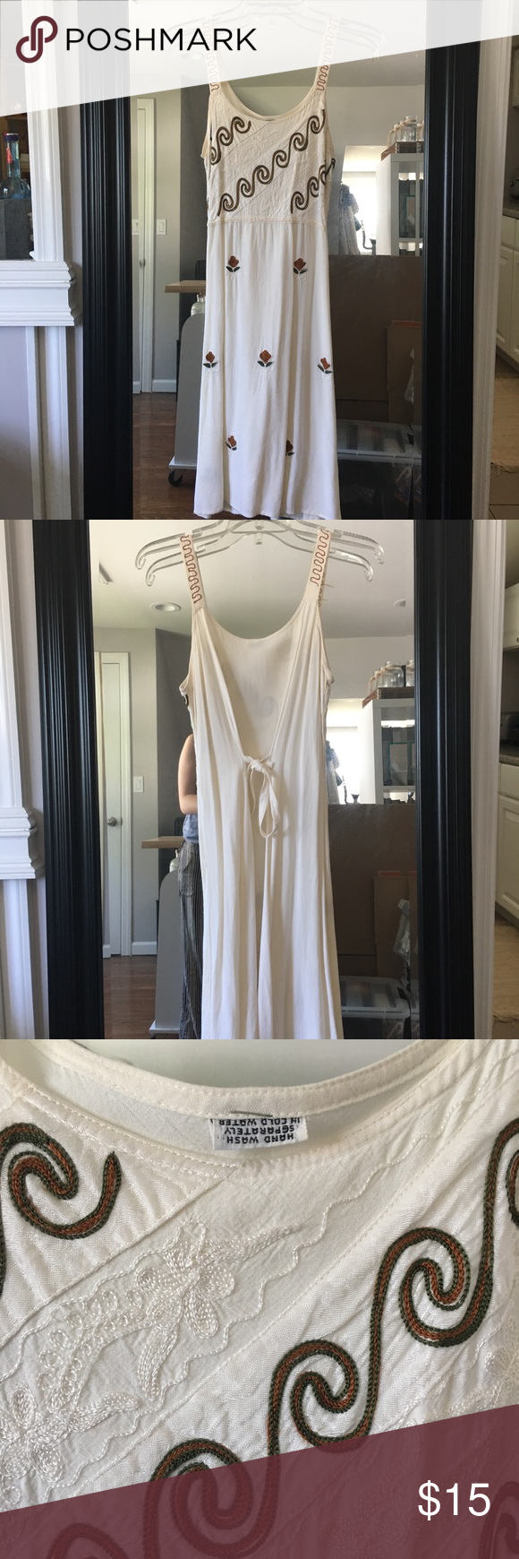 """663145b33aa2 Vintage Handmade Embroidered Beach Dress Vintage Handmade Embroidered Beach  Dress. No brand name. Fits knee length on me (5 3"""") size Small. Tie at back."""