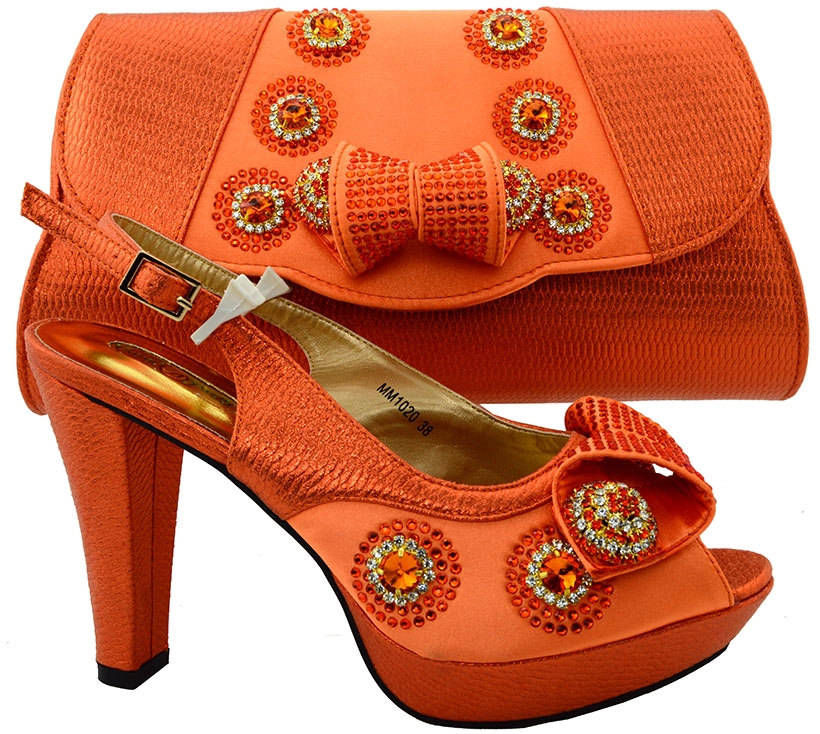 64.13$  Watch now - http://alij7c.worldwells.pw/go.php?t=32782525069 - Orange Italian Shoes With Matching Bags Set For Wedding High Class Nigerian Party Pumps Shoes African Shoes And Bag Set MM1020 64.13$
