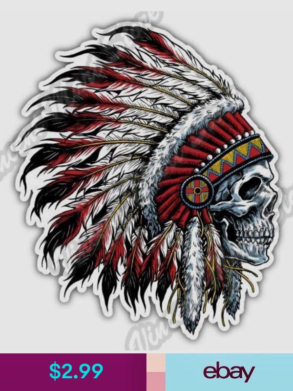 Native Indian Skull Face Skeleton Headdress Car Truck Window Vinyl Decal Sticker