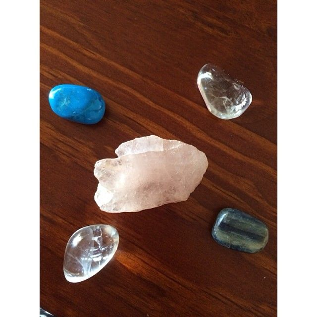 Working with Rose Quartz for my heart chakra and to keep peace in the home, Blue howlite for balance to my throat chakra and to calm anxiety, and Lapus Lazuli to foster a strong sense of family unity and to bring contentment. Using clear crustal quartz to amplify my projections. #crystalhealing #morningmeditation #Padgram