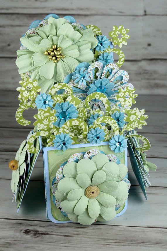 pop up greeting card flower bouquet birthday graduation