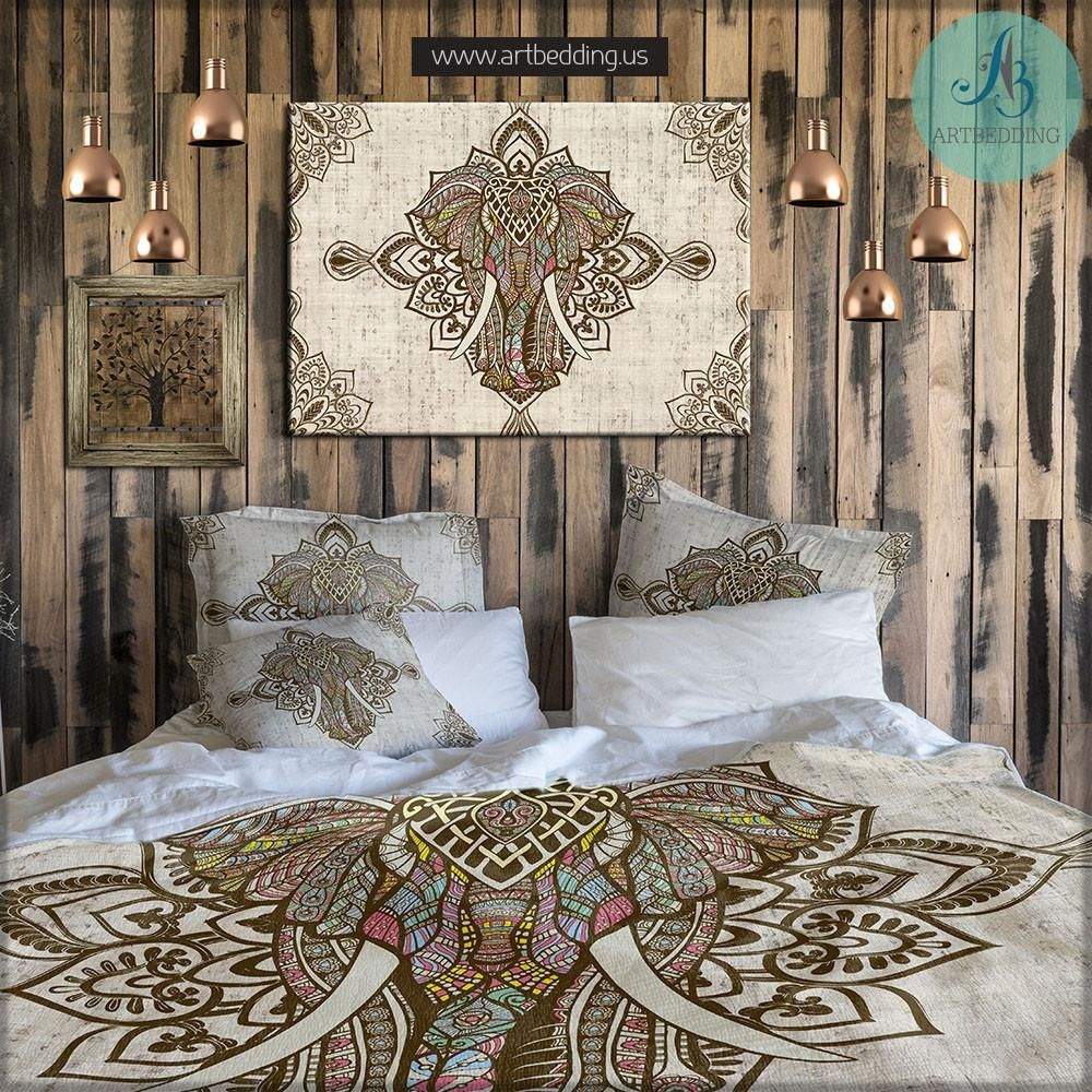 Elephant bedding, Bohemian duvet cover set, Elephant mandala