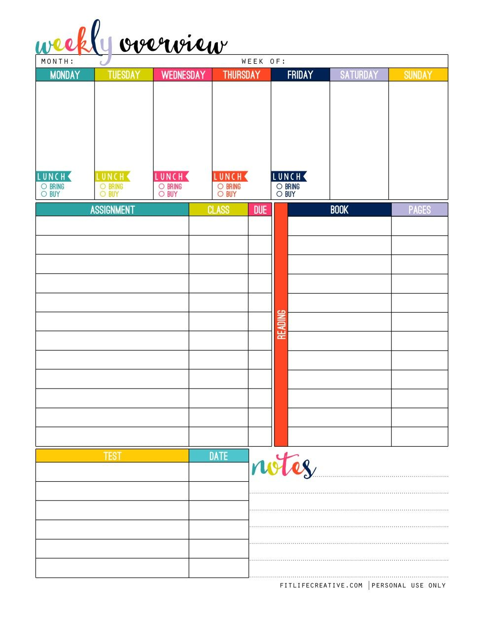 Terrible image throughout printable weekly planner for students