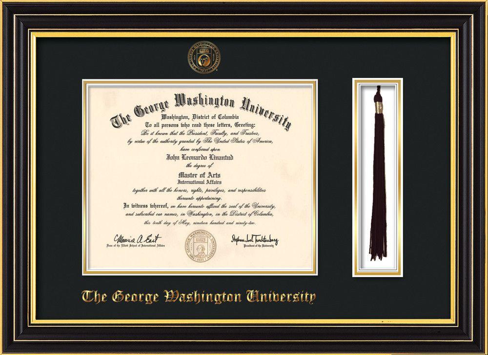 George Washington University Diploma Frame - Satin Black - w ...