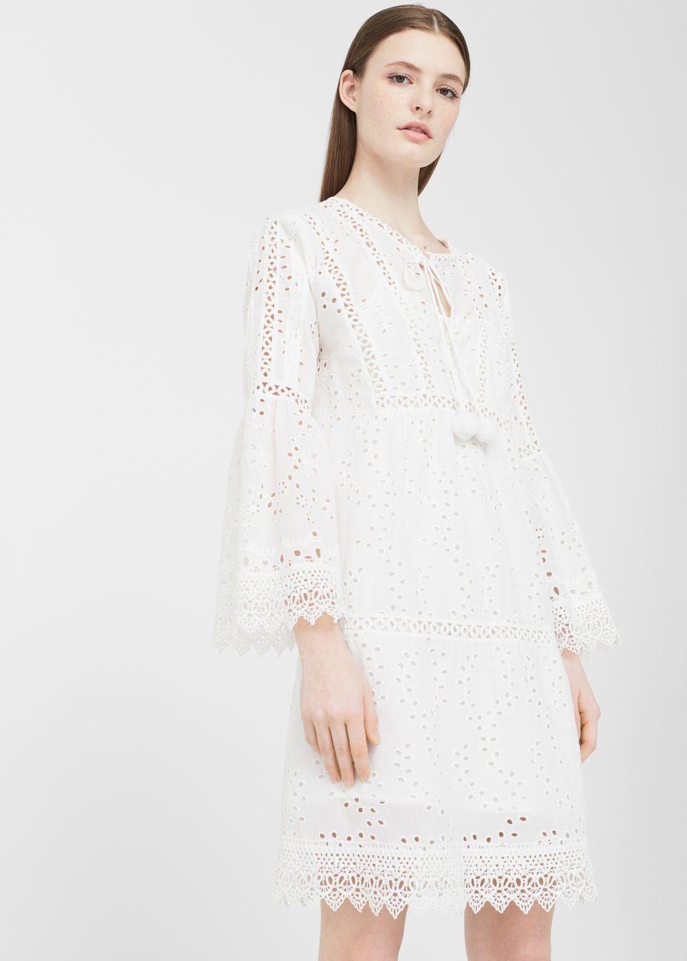 Vestido calado algodón - Vestidos de Mujer  739145506acb