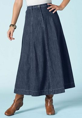 b88e03e090 Long Denim Skirt. roamans.com | Modest skirts | Pinterest | Skirts ...