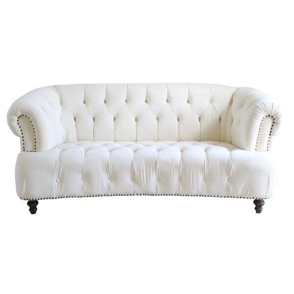 Trouvaille Sofa Cream Velvet Chesterfield Sofa With Brass Nail