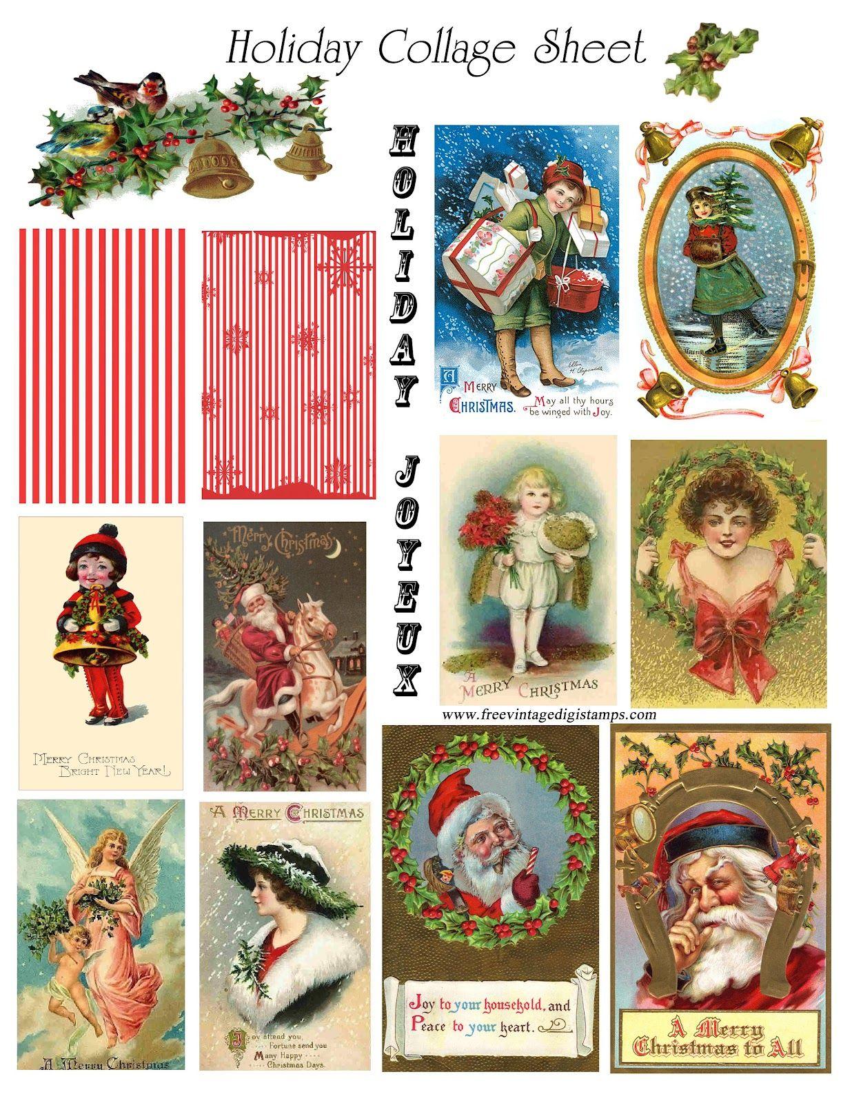 FREE ViNTaGE DiGiTaL STaMPS**: Christmas Collage Printable ...