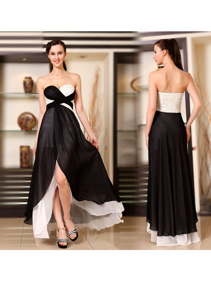 Sexy Strapless Ruched Slitted Long Dress