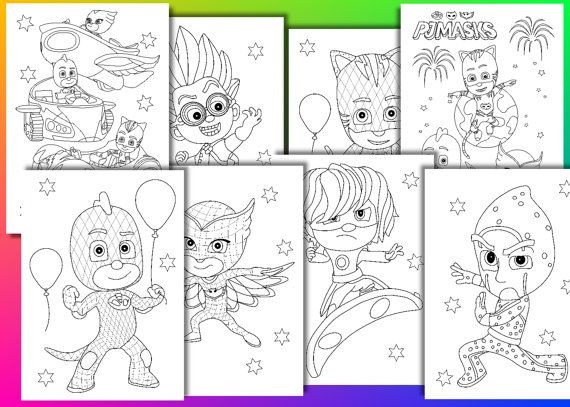 PJ Masks Coloring Pages, PJ Masks Birthday Party Favor, Instant Download,  PDF File