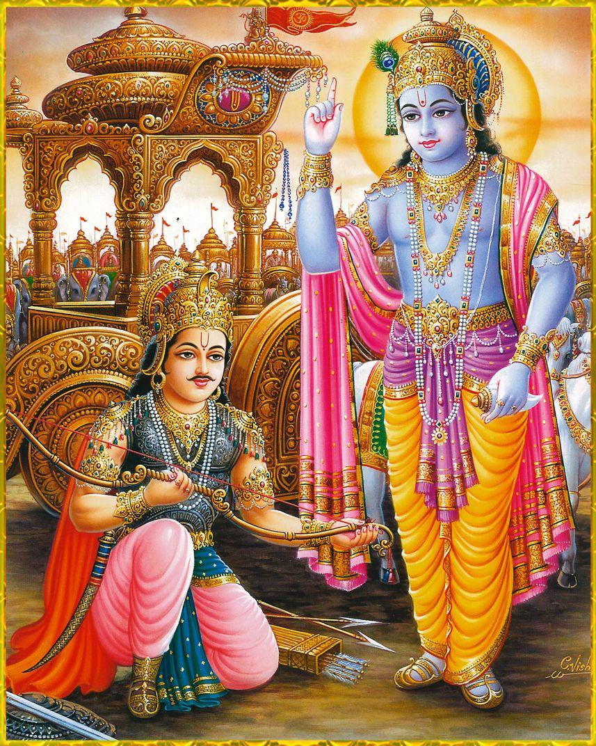 Krishnaart shri krishna arjuna artist c vishnu arjuna said you are the supreme lord to be worshiped by every living being