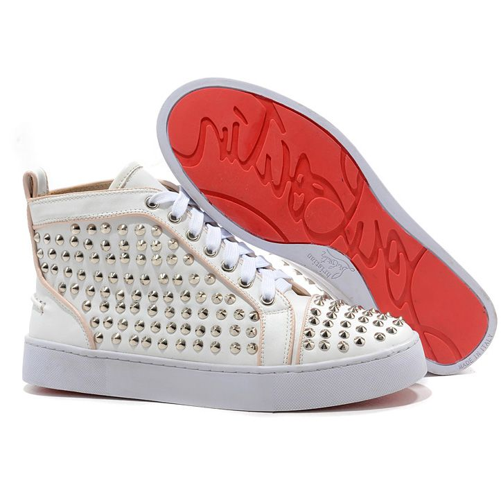 All You Need is Love And Christian Louboutin Louis Silver Spikes High Top  Sneakers White DHC! | Winter Outfits | Pinterest | High tops, Christian  louboutin ...