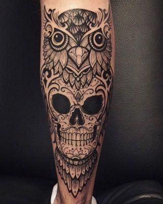 cd7224700 Leg Tattoos Owl Owl Skull Tattoos, Maori Tattoos, Mens Owl Tattoo, Miami Ink