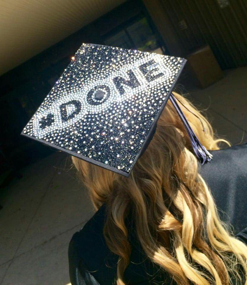 My 2015 graduation cap. Original, my idea, done, rhinestones, black glitter, grad cap, graduation, senior, decorated grad cap, sparkly grad cap