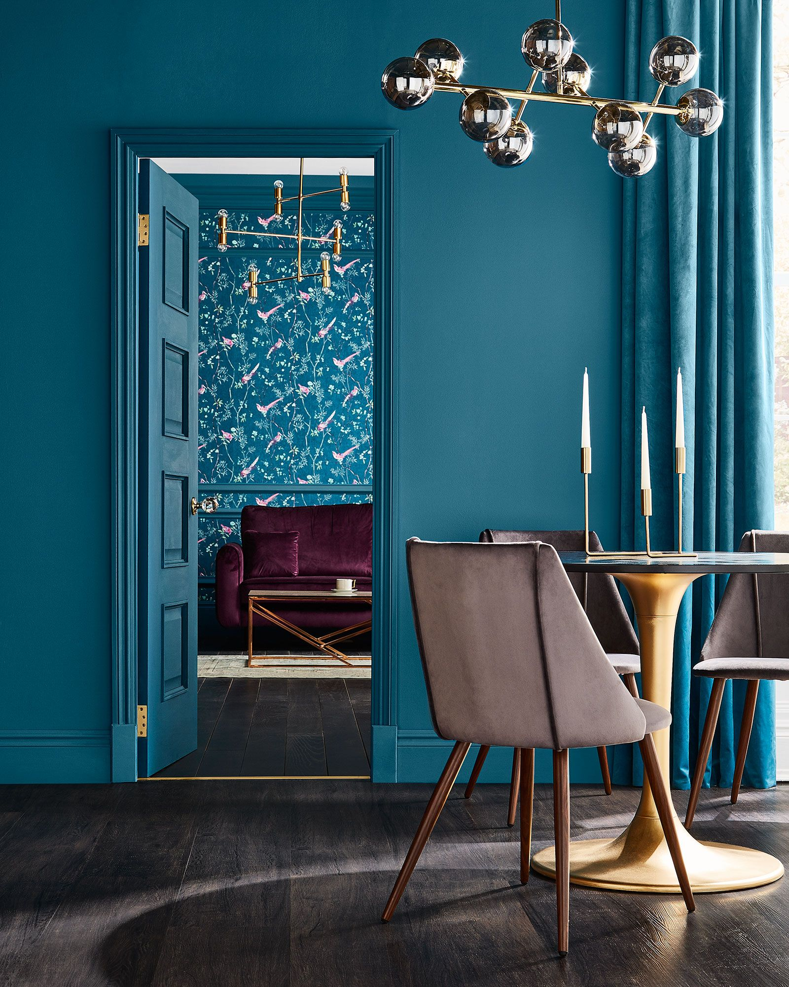 Colour Of The Year Tiru Teal Paint Colors Blue Living Room Home Decor Trends Blue colour wallpaper for living room