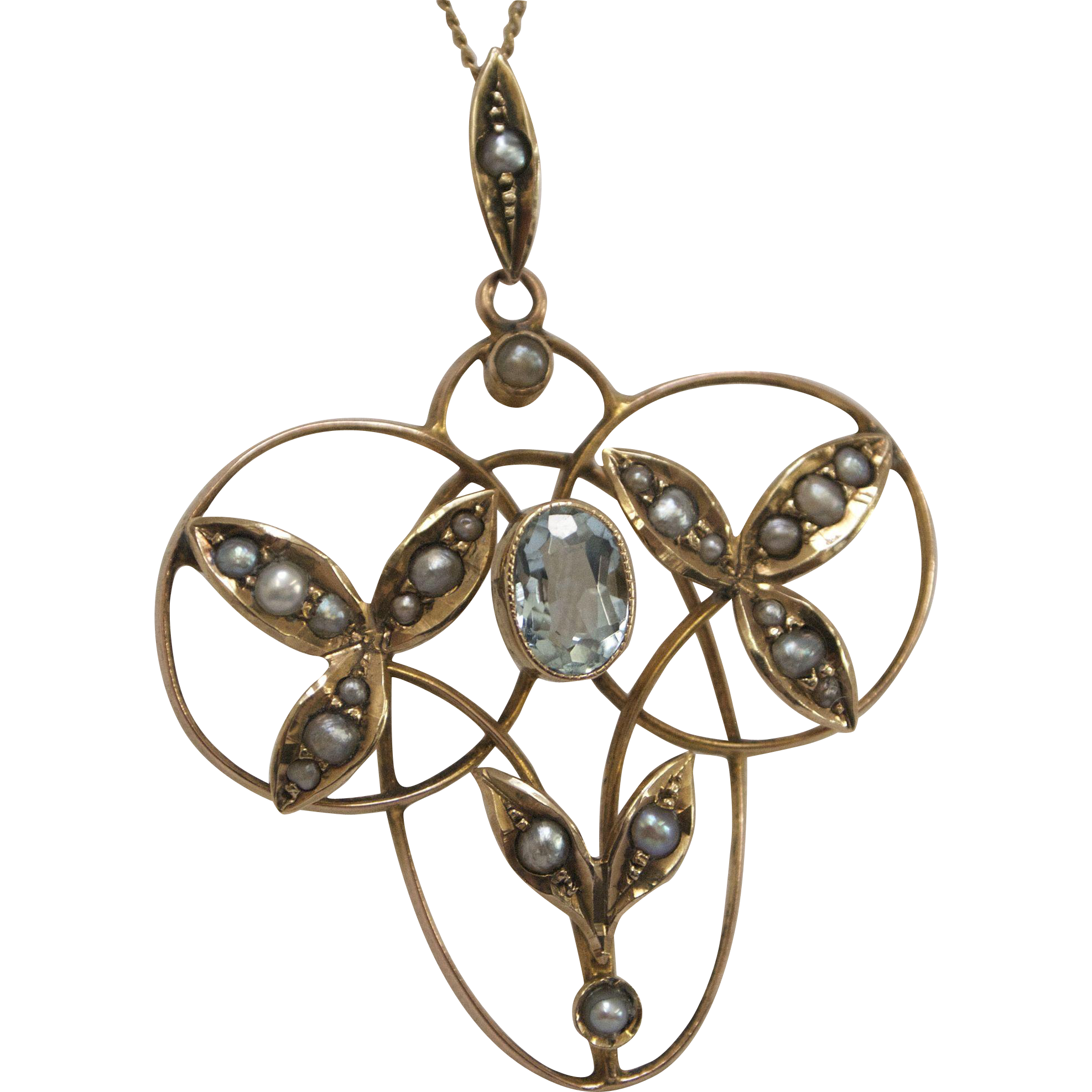 9 K Gold, Seed Pearl and Aquamarine Edwardian Lavaliere