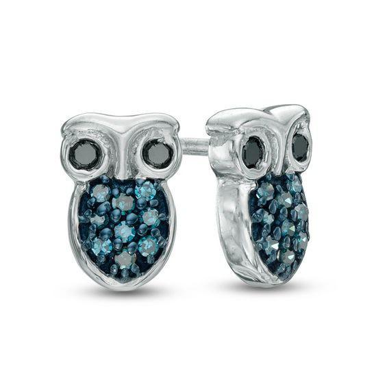 d4a6020c8 T.w. Enhanced Blue and Black Diamond Owl Stud Earrings in Sterling Silver