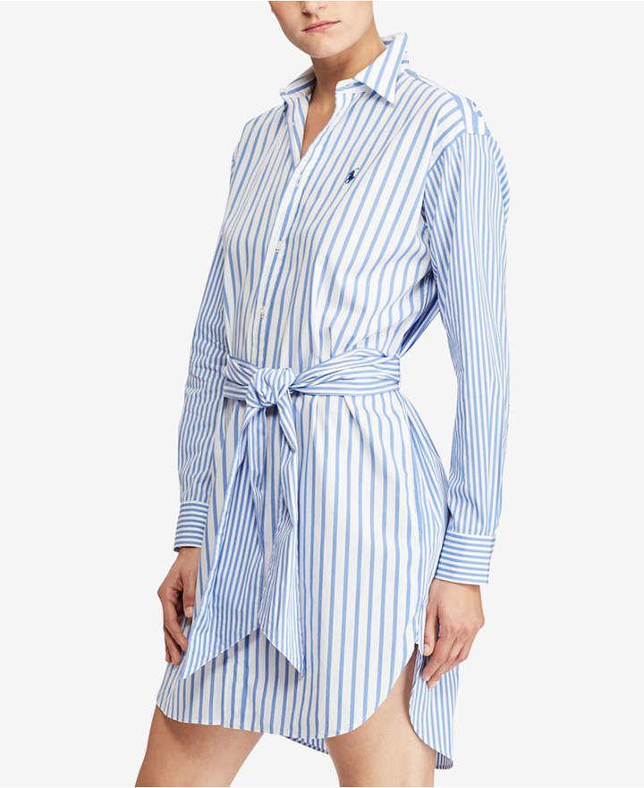 Polo Ralph Lauren Polo Ralph Lauren Women's Striped Linen Shirtdress Pink Size 0 from Saks Fifth Avenue | ShapeShop