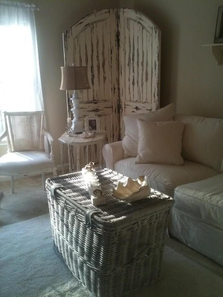 Living Area - Sofa - Rooms To Go   Wicker Trunk Hobby Lobby then white washed