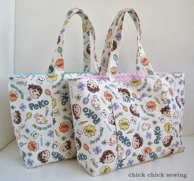 chick chick sewing: Sewing for our girls: Peko-chan tote bag ペコちゃんバッグ完成♪