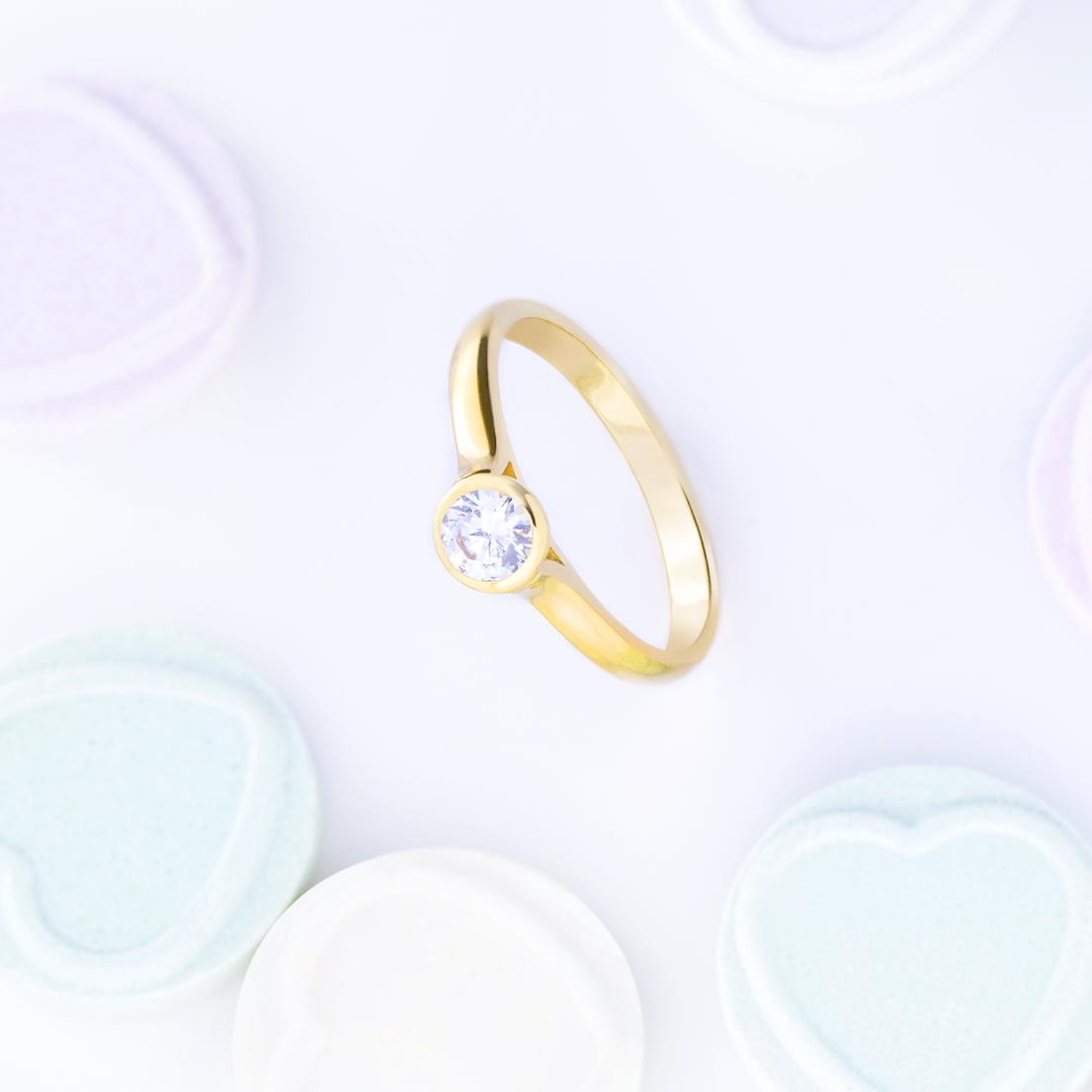 Anillo De Compromiso Oro Amarillo Con Diamante Stud Earrings Earrings Jewelry