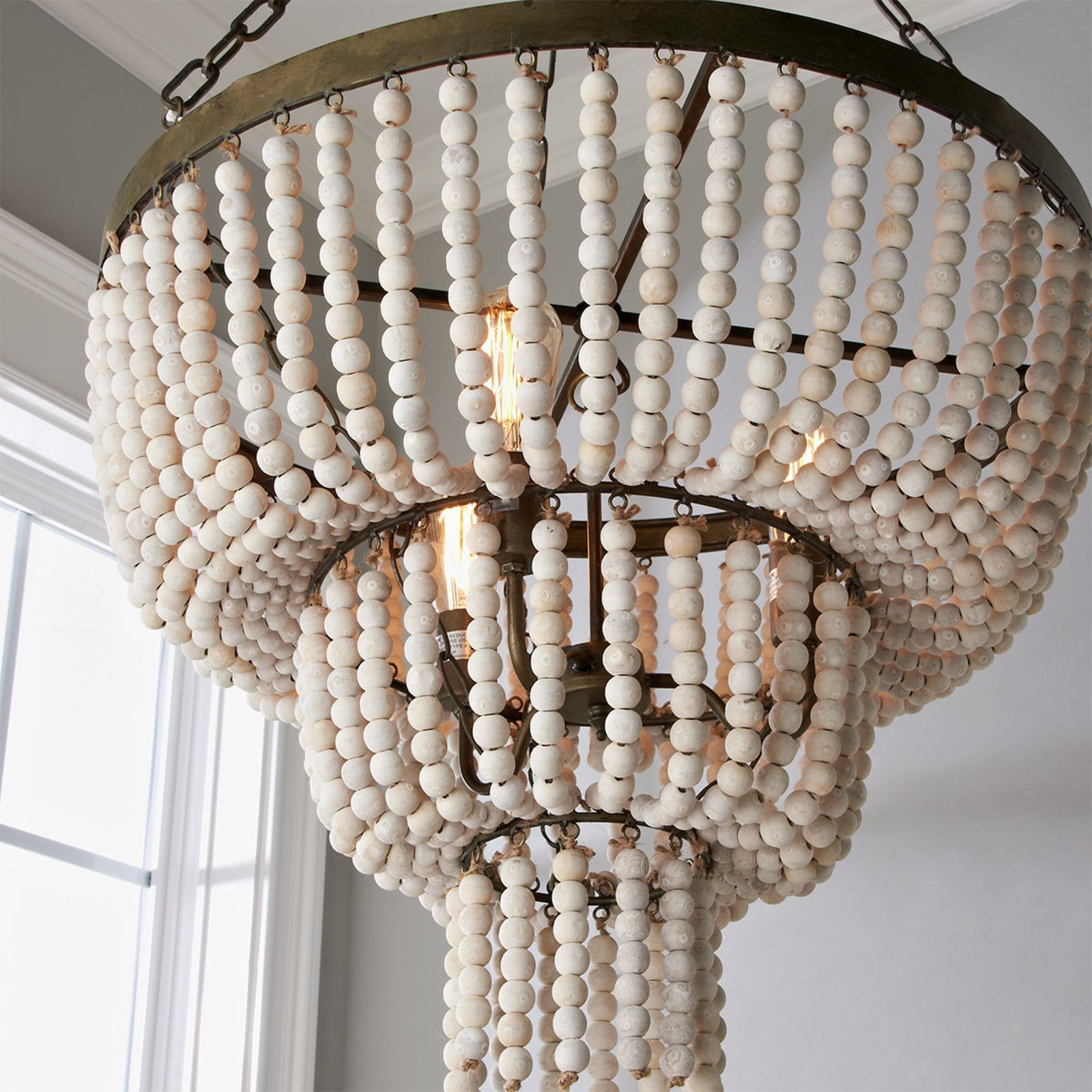 Tiered Basket Bead Chandelier Wood Bead Chandelier Beaded Light