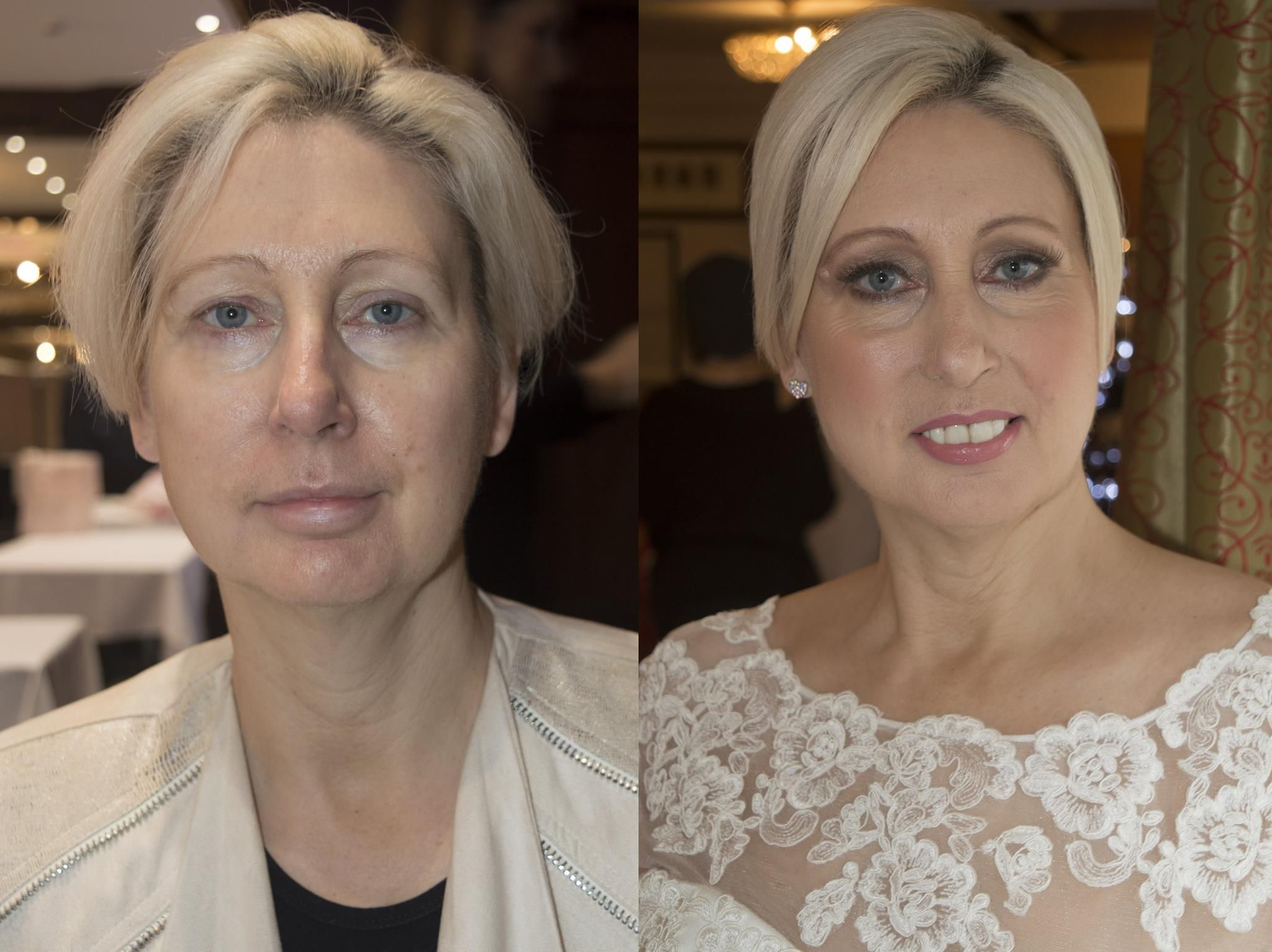 Corinne's before and after using Airbase Airbrush Makeup