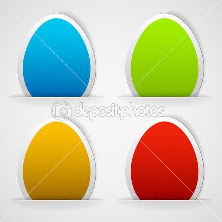 conjunto de coloridas etiquetas engomadas de huevos de Pascua — Ilustración de stock #9220484