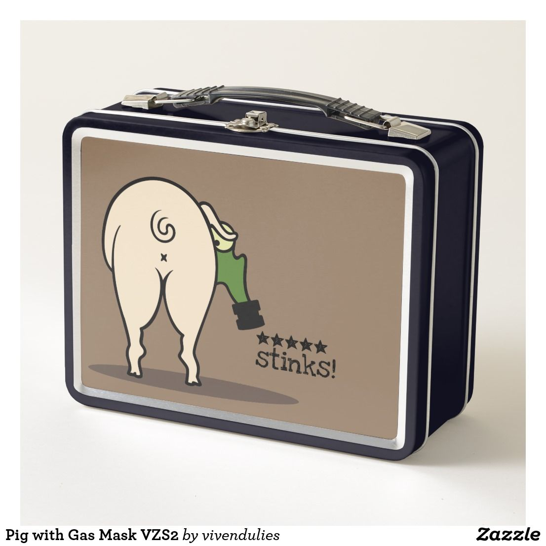 Pig with Gas Mask VZS2 Metal Lunch Box | Zazzle com | Metal