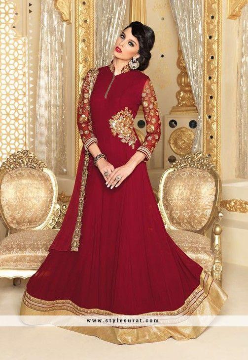 6f4a10592a Marvelous Maroon Color Floor Length Anarkali Salwar Suit | Salwar ...
