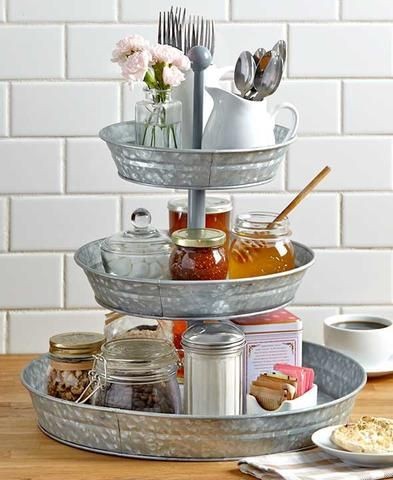 Galvanized Tiered Serving Trays And Caddy Rustic Country Kitchen