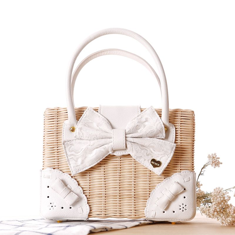 bowknot free shipping lace bow liz lisa rattan straw bag beach tote top