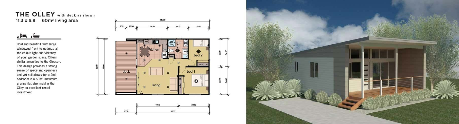 Simple 2 Bedroom House Designs Beauteous Modular Home Granny Flat 2 Bedroom  Homefloorplans Small Design Decoration