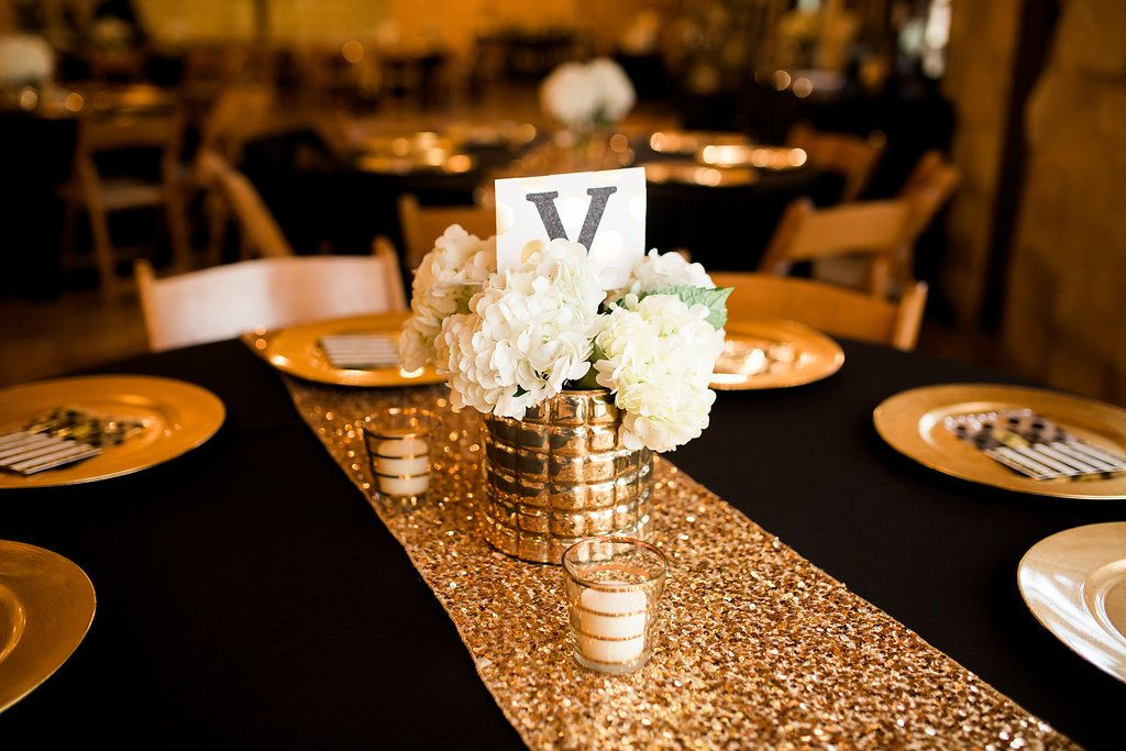 Rockwall Reception Halls Springs Venue Gold Wedding Table Decorations Black And Gold Party Decorations Black Gold Wedding